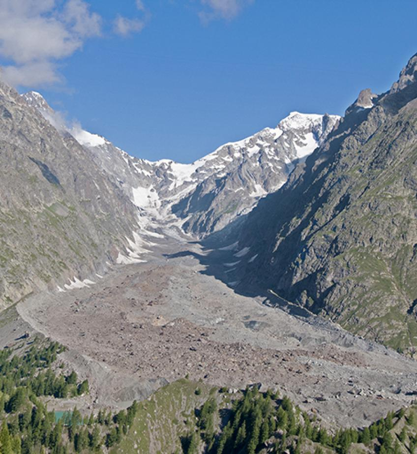 All the risks of the Miage glacier On Mont Blanc